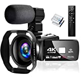 4K Camcorder Digital Camera Video Camera WiFi Vlogging Camera Camcorders with Microphone Full HD...