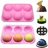 Silicone Molds For Chocolate, Cake, Jelly, Pudding, Handmade Soap, Round Shape (Pink, 6Holes - 2PC)