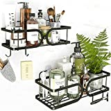 TOMIR Shower Caddy Basket with Hooks for Hanging Brush, Wall Mounted Bathroom Shelves Adhesive Shower Accessories Storage Shampoo Holder Organizer No Drill Bath Rack Kitchen Shelf, Stainless Steel 304