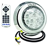 Life-Bulb LED Color Changing Wall Mount Pool Light with Remote | 50ft Cable | 12V 60W | Lifetime Replacement Warranty | No Drilling Required Installation Kit