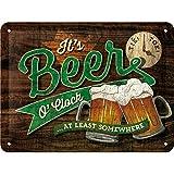 Nostalgic-Art 26214 Plaque Vintage Beer O' Clock Glasses – Idée de Cadeau pour Les Fans de bière, en métal, Design Retro pour la décoration, 15 x 20 cm