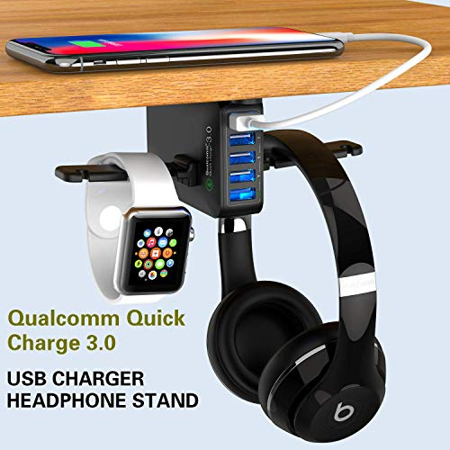 Yostyle Headphone Stand with USB Charger,Under Desk 5 USB Port QC3.0...