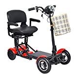 Foldable Lightweight Li-on Battery Power Mobility Scooters Easy Travel Electric Wheelchair Multi Terrain Scooter for Adults with Child Seat (Red (Large Seat))