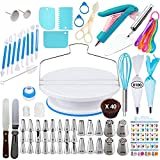 Cake Decorating Supplies Kit - Baking and Piping Set | 207 Pieces | Leveler, Rotating Turntable Stand, Frosting Bags and Tips, Fondant Cutters, Decoration Tools, Angled Icing Spatula, Starter Guide