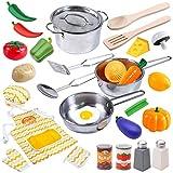 JOYIN Juguetes de Cocina Acero Inoxidable 30 Piezas Set Utensilios de Cocina Culinario Mini Cocina...