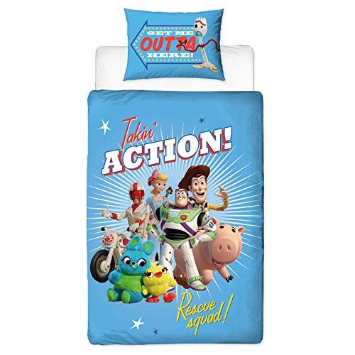 Set copripiumino singolo ufficiale Toy Story 4 con design Rescue | reversibile su due lati...