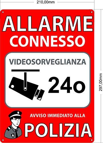 Allarme A4 interno/esterno, targhetta in PVC espanso, segnale di allarme collegato, 30x21 cm di colore rosso