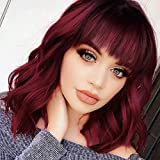 Nnzes Bob Curly Wig Synthetic Short Wine Red Wig with Bangs Natural Looking Heat Resistant Fiber...