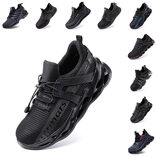 Zapatos de Seguridad Hombre Mujer Zapatillas de Trabajo con Punta de Acero Ligeros Calzado de Industrial y Deportivos Sneaker Negro Azul Gris Número 36-48 EU Negro 41