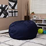 EMMA + OLIVER Oversized Solid Navy Blue Bean Bag Chair for Kids and Adults