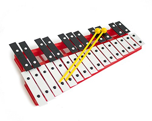 Red 27 Key Chromatic Glockenspiel Xylophone - Notes Engraved into Metal Keys