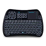 iPazzPort Bluetooth Mini Wireless Keyboard with Touchpad and RGB Backlit, IR Learning Function for for Android TV Box, Nvidia Shield TV, Smart TV, Raspberry Pi