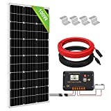 ECO-WORTHY 100W Monocrystalline Panels System Kit: 100W Solar Panel with 20A Charge Controller for Off-grid 12V Energy Charging RV Marine Boat