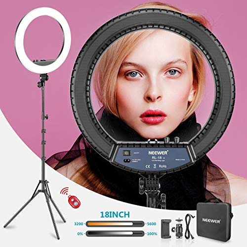 Neewer RL-18II Bi-color 18-inch LED Ring Light with Stand 55W 3200-5600K Dimmable Light with Max. 61.8inch Stand, Remote Phone Holder and Carry Bag for Live Stream Makeup Selfie YouTube Video Shooting