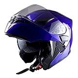 1Storm Motorcycle Modular Full Face Helmet Flip up Dual Visor Sun Shield: HB89 Glossy Blue
