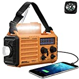 Emergency Radio with NOAA Weather Alert, Rechargeable 5000mAh Battery Operated Solar Hand Crank Radio, Outdoor Portable AM FM SW Radio with USB Charger, Flashlight,Reading Lamp, SOS Alarm for Survival