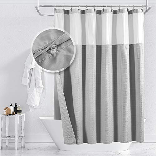 Barossa Design Cotton Blend Waffle Weave Shower Curtain with Snap-in Fabric Liner, Hotel Luxury Spa, Mesh Window Top, Machine Washable, Lake Wanaka Gray, 71x72 Inches