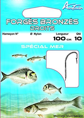 Autain - 10 ami da pesca forgiati in bronzo dritti (n. 6 - 0,28 mm)