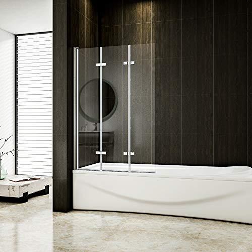 130x140cm Badewannenaufsatz Duschabtrennung Faltwand 3 tlg Duschwand 6mm NANO Glas