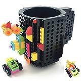 HUISHENG Build on Brick Mug, Tasse à café, Cadeau Original Homme Papa Femme Maman Garçon Fille, Idée Cadeau de Noël Pâques Fête des Pères Halloween Anniversaire, Compatible pour Lego (Noir)