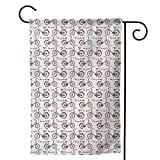 Mannwarehouse Holiday Yard Flag, Outdoors Lawn Decor for Home Bicycle Vintage Beach Bicycle Drawing Displayed in Parade with I Love My Bike Print Blush Sepia White