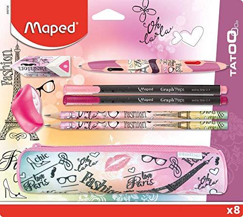 MAPED - Kit per la scuola, 8 pezzi, 1 astuccio rotondo, 2 matite per carta, 1 gomma, 1 temperino, 1...