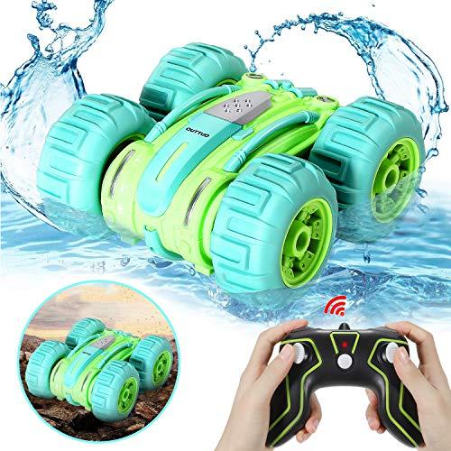 OUTTUO Amphibien Ferngesteuertes Auto, 2.4GHz4WD Spielzeugauto mit Hochgeschwindigkeit, 360 Grad drehbar, geeignet für den Einsatz im Wasser oder auf dem Boden, Kinder(Grün)