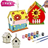 Kids Crafts Wood Arts and Crafts for Kids Age 4-12, DIY Bird House Kit for Children to Build and Paint Toys for 4 5 6-12 Year Old Boys Girls Birthday Christmas Xmas Gifts for Kids Boys Girls-2 Pack