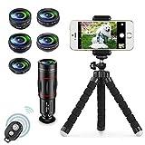 Apexel 8 in 1 Phone Kit Obiettivo Fotocamera 18X Teleobiettivo,Obiettivo grandangolare, Obiettivo Macro, Fisheye, Obiettivo caleidoscopio, Filtro Stella...