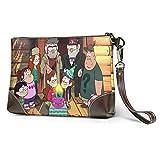 XCNGG Cool Grav-ity Falls Embragues de cuero de moda, bolsos, maletines, embragues de pulsera de cuero suave con cremallera