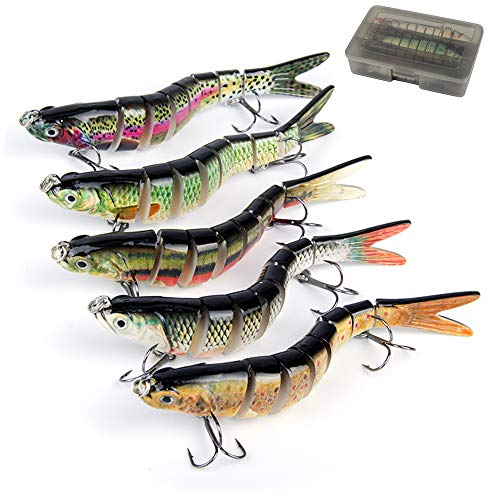 Oak-Pine 5pcs Bass Fishing Lure Sets - 7 Multi Jointed Bait with Box / 4.33'' Vivid Swimbaits...
