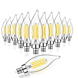 E12 LED Candelabra Bulb 60W Equivalent Dimmable LED Chandelier Light Bulbs 4.5W 2700K Soft White 500LM B10 Flame Tip Vintage LED Filament Candle Bulb with Decorative Candelabra Base, 12 Packs