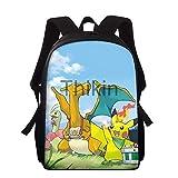 Pokemon - Bolsos escolares para niños y niñas, lindos dibujos animados de cómics japoneses escolares para estudiantes, bolsas de hombro Plecak Szkolny 2020, Silver (Plateado) - 9559856496907
