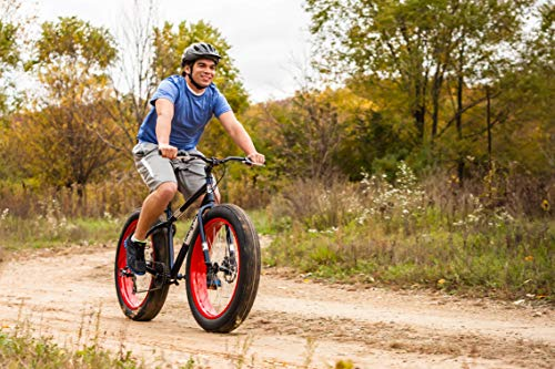 Product Image 6: Mongoose Dolomite Mens Fat Tire Mountain Bike, 26-inch Wheels, 4-Inch Wide Knobby Tires, 7-Speed, Steel Frame, Front and Rear Brakes, Navy Blue