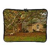 5 tamaños hojas de otoño casa antigua portátil bolsas retro expandibles – Paisaje portátil casos adecuados para el trabajo, blanco (Blanco) - BTJC88-DNB-8