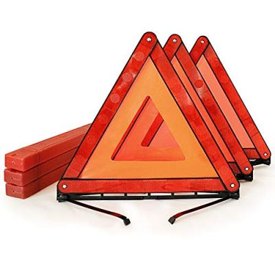 Funlove Foldable Warning Triangles Road Safety Triangle Kit, 3 Pack of Reflective Triangle Sign with Storage Case, DOT Approved