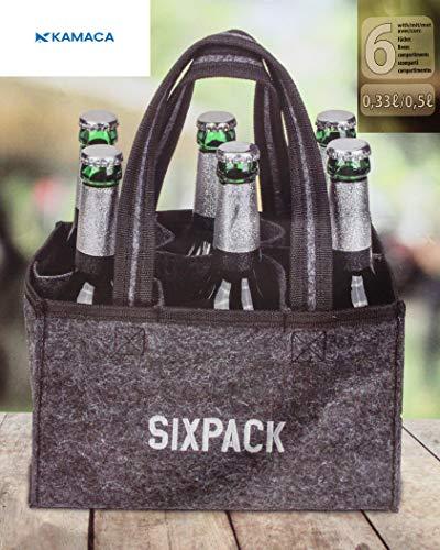 Kamaca Flaschentasche für 6 Bierflaschen Flaschenträger Flaschenkorb zum Transport von Glas Flaschentasche aus Filz mit Stickerei perfekte Geschenkidee für Männer (Sixpack)