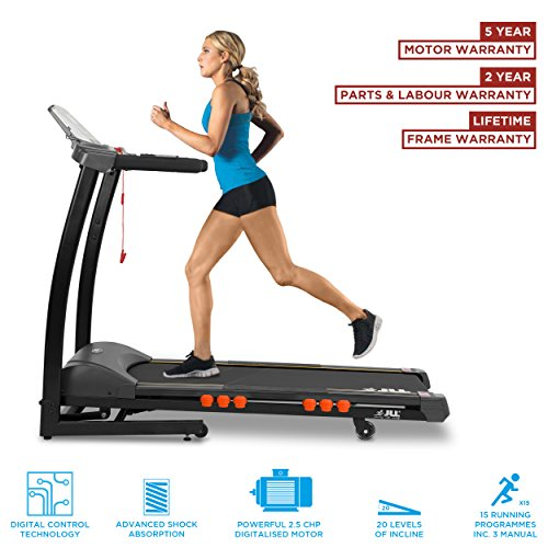 JLL S300 Digital Folding Treadmill, 2019 New Generation Digital Control 4.5HP Motor, 20 Incline Levels, 0.3km/h - 16km/h, 15 Professional Programs, USB & Speakers, 2-Year Parts & Labour, 5-Year Motor Cover