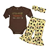 Unique Baby Girls Little Miss Thankful 1st Thanksgiving Outfit (Newborn) Brown