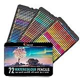 72 Crayons Aquarellables, Numérotés, avec Pinceau et Boite Métal...
