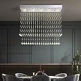 Rectangular Raindrop Crystal Chandelier Modern Flush Mount LED Ceiling Lighting for Kitchen Island Dining Room Chrome L39.4'x W11.8'x H31.5'