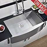 Commercial 33 Inch 304 Stainless Steel Farmhouse Sink, Single Bowl Kitchen Sink 16 Gauge 10 Inch Deep Handmade Undermount Kitchen Apron Sink Farm Sink