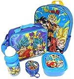 Dragon Ball Z Set De Regalo Mochila + Billetera + Bolsa Aislante + Botella Para Beber + Caja De Almuerzo - Licenciado Oficialmente - Backpack Purse Lunch Bag Sports Bottle Sandwich Box - Gift Bundle