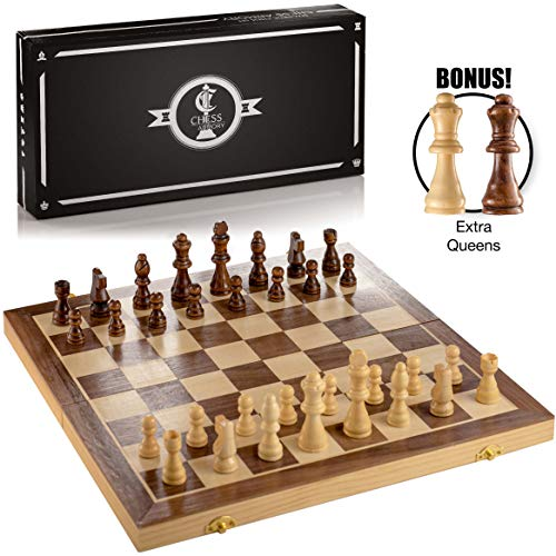 Chess Armory 15' Large Magnetic Wooden Chess Set with Felted Game Board Interior for Storage