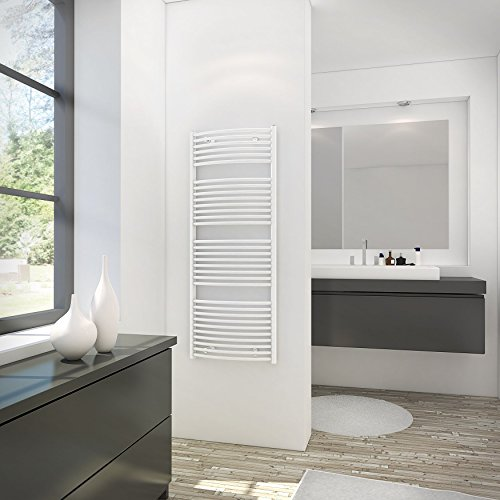 Schulte 4061554000324 Sèche-serviette pour salle de bain, radiateur à eau chaude, env. 600 W, blanc, 60 x 114 cm