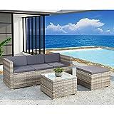 ArtLife Polyrattan Lounge Punta Cana M für 3-4 Personen mit Tisch in grau-meliert mit Bezügen in Dunkelgrau - 2