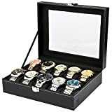 The watch box has glass lid Velvet liner The watch boxes are first-class workmanship, material, and design, for men and women The watch case is made high quality black faux leather Top quality stainless steel hardware