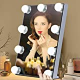 Tomshine Hollywood Mirror with Light Lighted Vanity Makeup Mirror Cosmetic Mirror Touch Control 9 LED Bulbs 3 Colors Dimmable Light 10X Magnification(White)