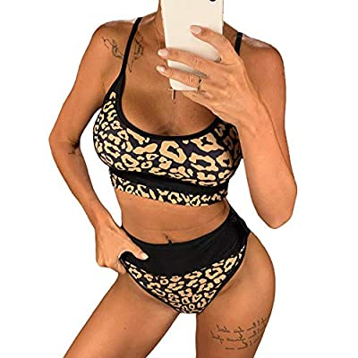 [The sexiest leopard print design! ] Our bikinis are made of the most classic and sexy leopard print, with interlaced stitching of gold and black. The simple suspender design is convenient to match different shorts, skirts, and jackets, and it is eas...