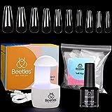 Beetles Nail Tips and Glue Gel Kit, 2 In 1 Nail Glue and Base Gel with 500Pcs Coffin Nails and LED Lamp DIY Nail Art Acrylic Nail Kit Easy Nail Extension Set